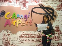 Yu Dih in Changi Airport in Singapore.